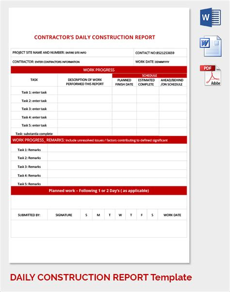 construction daily report template sle daily work report template 21 free documents in pdf
