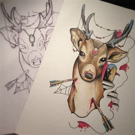 new school deer tattoo traditional vivid color new school pierced with arrows