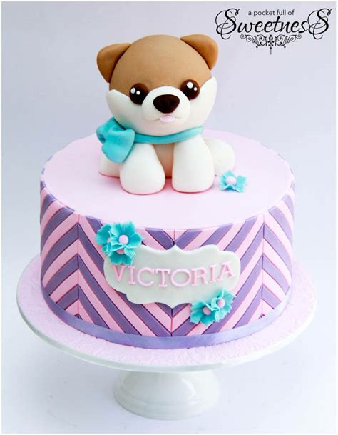 puppy cake topper pink and purple themed puppy birthday cake created by loan a pocket of sweetness