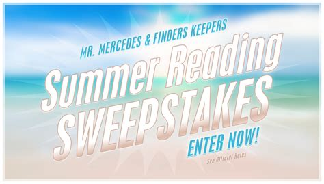 Mr Sweepy Sweepstakes - the stephen king summer reading sweepstakes enter now