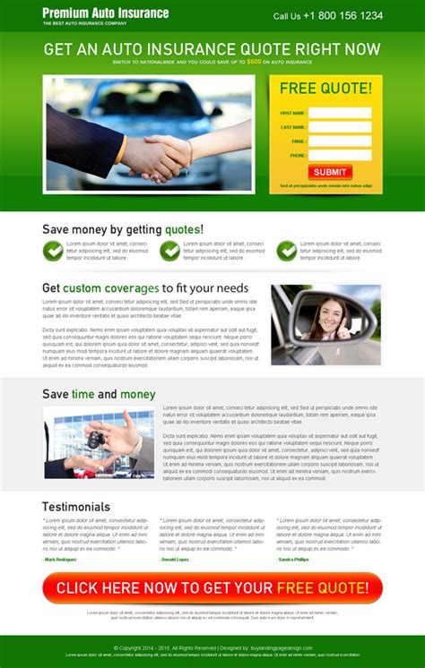 insurance site template auto insurance landing page designs that delivers