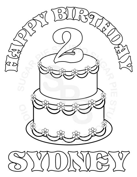 custom happy birthday coloring pages personalized printable birthday cake party favor childrens