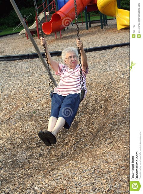 citizen swing swinging grandmother 5 stock photography image 1301762