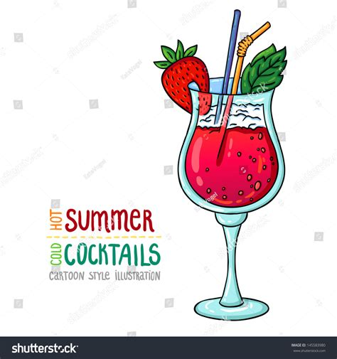 cartoon cocktail cartoon style illustration fresh cocktail stock vector
