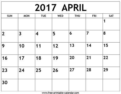 april calendar 2017 calendar 2017