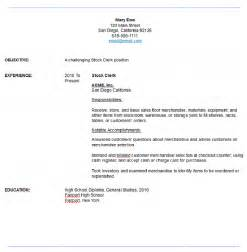Retail Stock Clerk Cover Letter by Mail Clerk Sle Resume