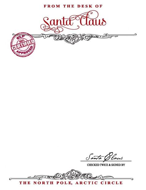Santa Claus Letterhead Template by Santa Claus Stationary Free Printable Your Golden