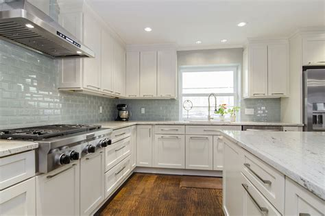 Modern White Granite Kitchen Backsplash Ideas For White Kitchen Cabinets In White