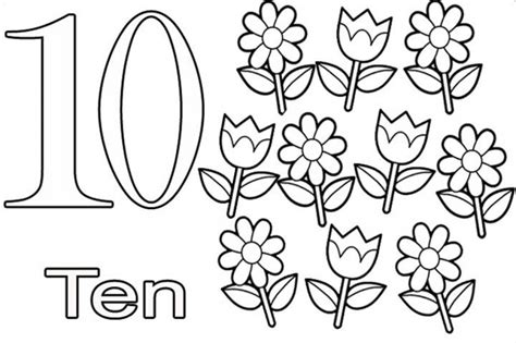 coloring pages of the number 10 number ten learning to write simple handwriting number