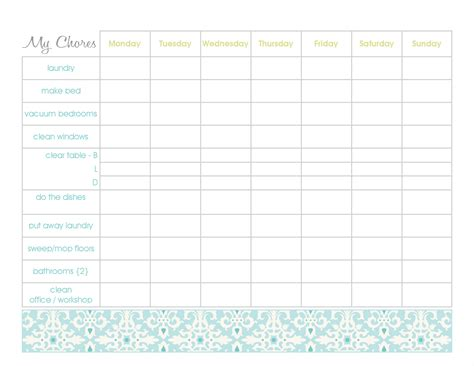 family chore chart template free household chore chart template