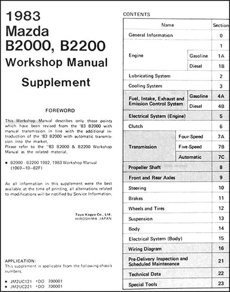 1982 1983 mazda b2000 b2200 truck repair shop manual original 1983 mazda b2000 b2200 repair shop manual supplement automatic transmission
