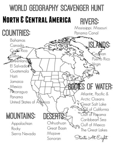 5 themes of geography central america world geography scavenger hunt north central america