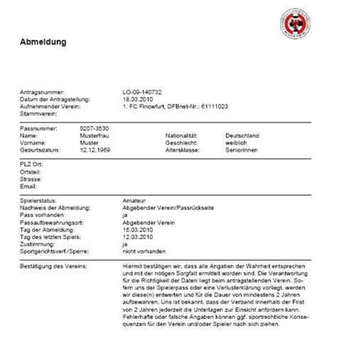 Vorlage Antrag Mitgliedschaft Verein Abmeldung Antrag Dfbnet