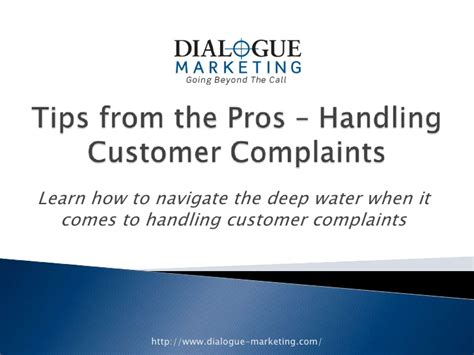 Tips From The Pros by Tips From The Pros Handling Customer Complaints