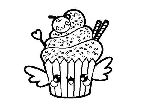 comida kawaii para colorear dibujo de cupcake kawaii con cereza para colorear