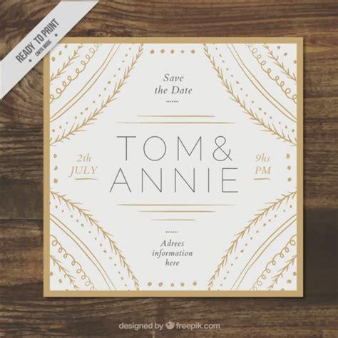 Kostenlose Vorlage ã Karte Hochzeit Hochzeit Karte Mit Goldenen Verzierungen Gezeichnet Der Kostenlosen Vektor