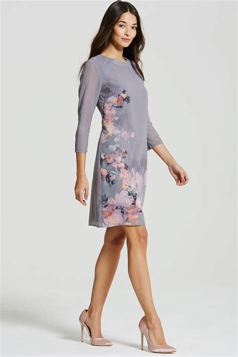 Dic14451 Sf Floral Dress grey floral print shift dress from uk
