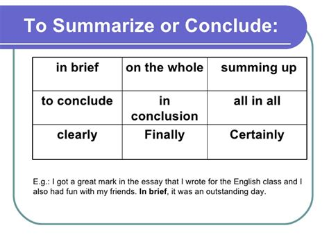 Linking Words To Conclude An Essay by Linking Words