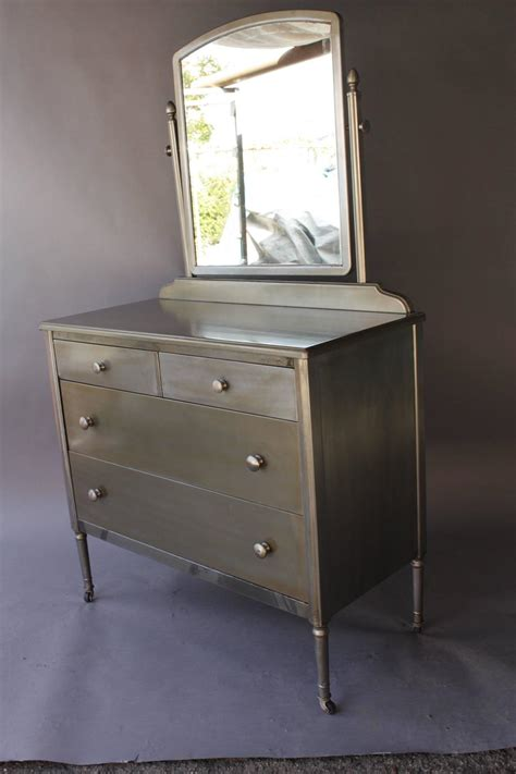 Metal Dressers For Sale by 1930s Industrial Metal Dresser With Original Mirror For