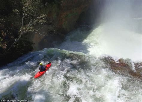 jet boat up waterfall pedro oliva plunges down waterfall in his kayak in