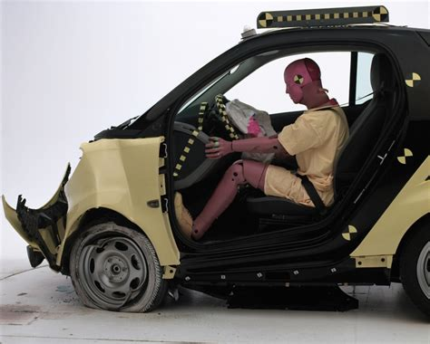 smart car test smart fortwo crash test results show you don t to die