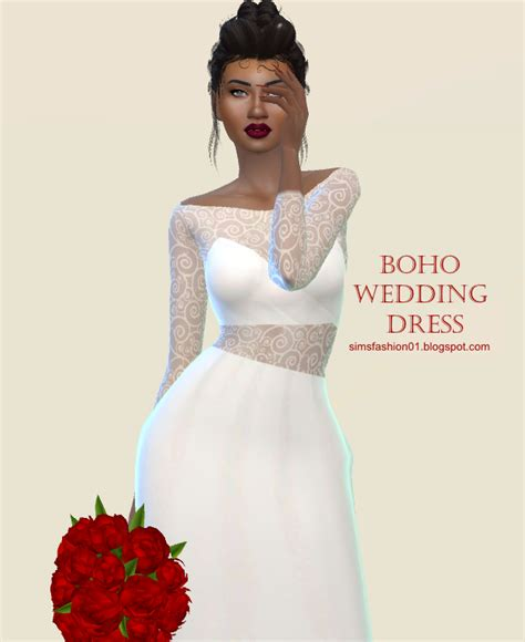 sims 4 wedding sims fashion01 simsfashion01 boho wedding dress the