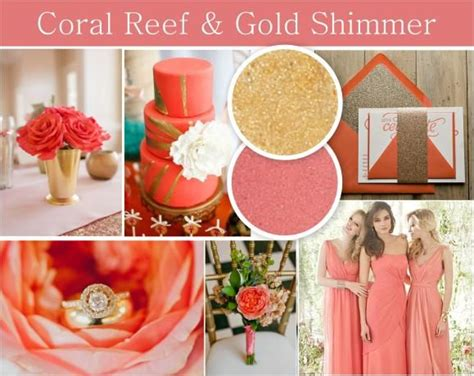 coral reef gold wedding theme gold shimmer wedding