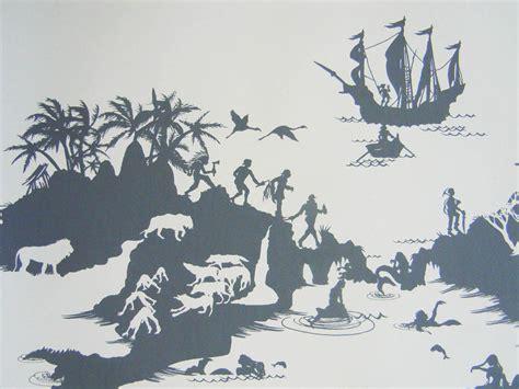 peter pan bedroom wallpaper neverland silhouette disney pinterest