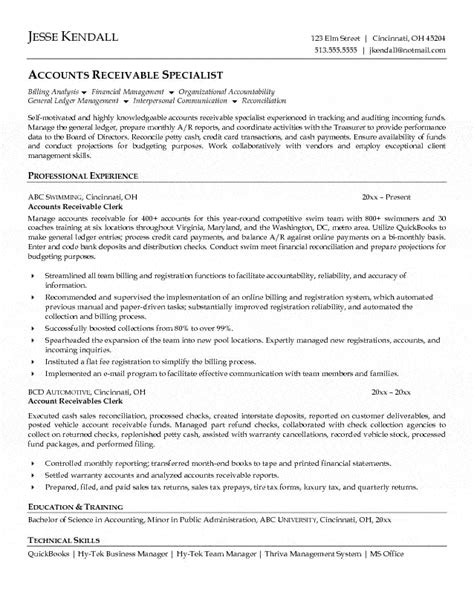 Resume Templates Accounting Clerk accounts receivable clerk resume