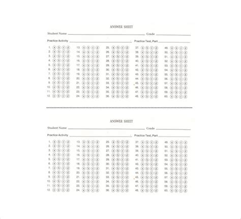 11 answer sheet templates free sle exle format