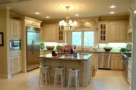 small u shaped kitchen with island country french kitchen design in antique white shaker u