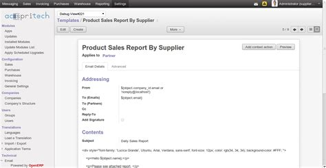 Daily Report Email Template