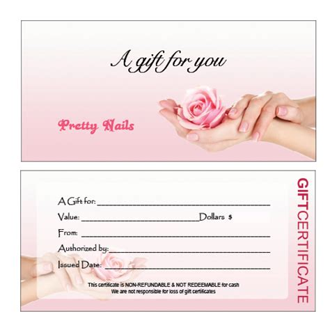 100 nail salon gift certificate template sle
