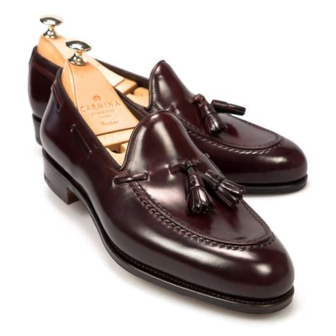 shell cordovan loafers cordovan burgundy dress loafers carmina shoemaker