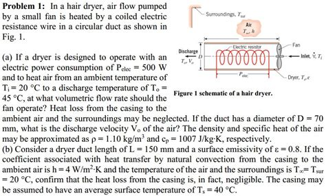 Hair Dryer Air Flow Rate solved problem 1 in a hair dryer air flow pumped by a s