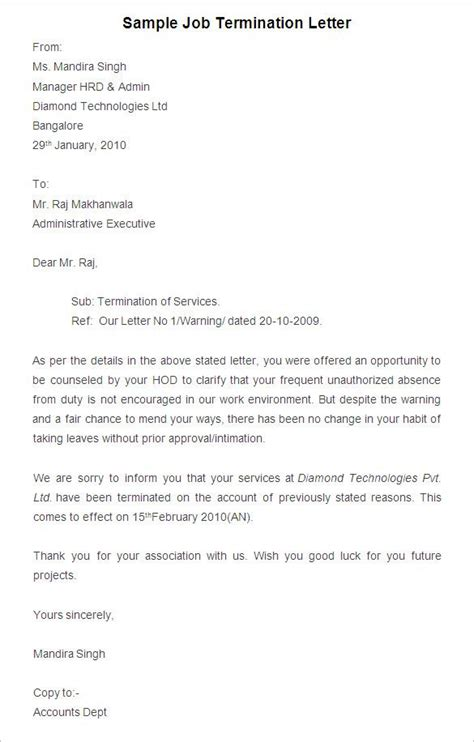 voluntary termination letter template voluntary termination letter template sle