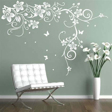 butterfly vine corner flower wall stickers tree wall decals bedroom background decorative