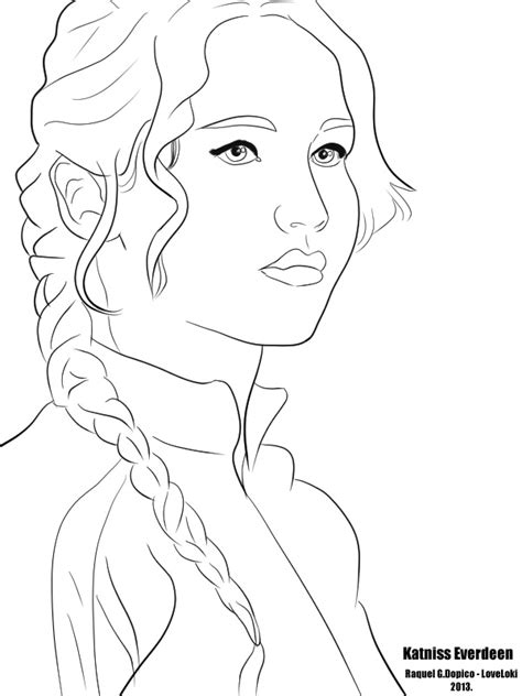 art coloring pages games katniss everdeen of the hunger games raquel g dopico art