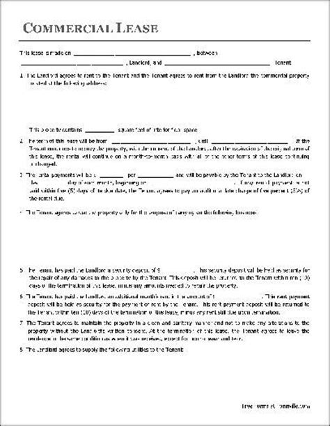 commercial property lease agreement free template printable sle free lease agreement template form real