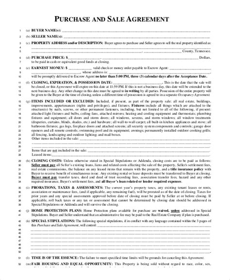sle purchase and sale agreement 8 exles in pdf word