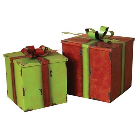 metal antique holiday red green gift boxes set of 2