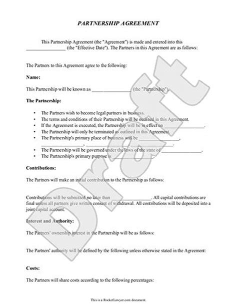 printable sle partnership agreement template form