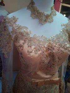 Bordir Semi Sifon Bunga Dahlia dress kebaya cantik berwarna kuning emas bahan sifon