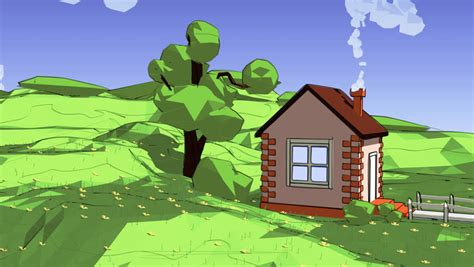 cartoon  poly animation small wooden house