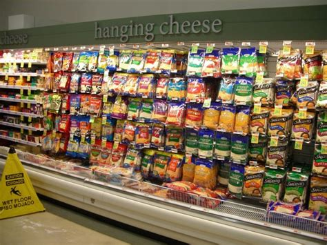 supermarket sections this american supermarket has a hanging cheese section