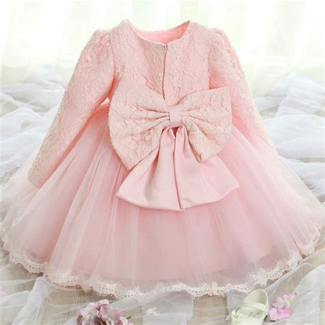 Dress Baby 02 Bunga Pink 2016 newborn baby dress white pink flower lace children clothes warm toddler clothing