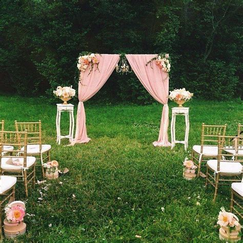 small backyard wedding ceremony vintage ceremony outdoor wedding ceremony pink wedding