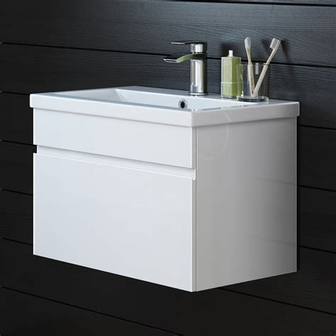 Model K32 600mm Denver Ii Gloss White Built In Basin Wall Hung Bathroom Furniture