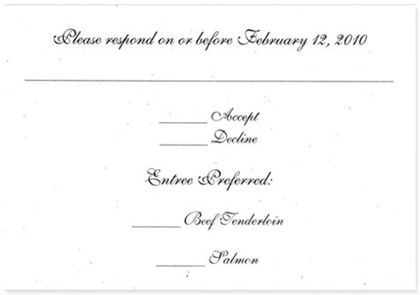 wedding rsvp menu choice template recycled paper response from handmade paper wedding