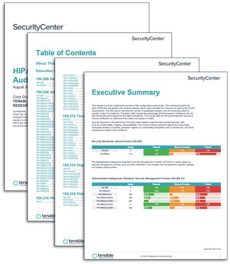 hipaa configuration audit summary sc report template tenable